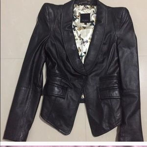 ted baker black power shoulder leather jacket